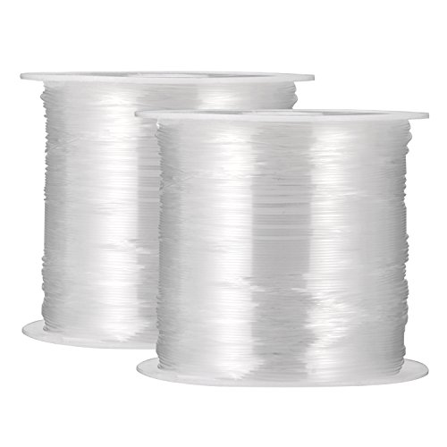 2 Packs 0.4 mm Clear Nylon Wire Non-Stretchy Beading Threads for Beading Jewellery Bracelets and Crafts, 45 Meters Each