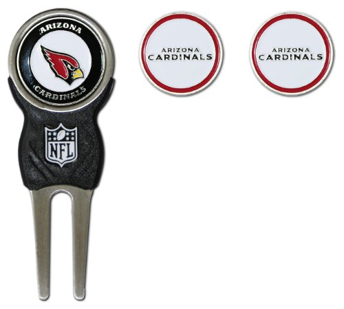 Team Golf NFL Arizona Cardinals Divot Tool with 3 Golf Ball Markers Pack, Markers are Removable Magnetic Double-Sided Enamel, multi team color, one size (30045)