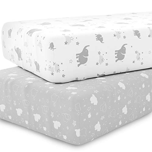 Crib Sheet Set Unisex- Universal Fitted Crib Sheets for Standard Baby or Toddler Mattress - 2 Pack - White Sheets - Jersey Knit Cotton - Super Soft and Safe for Babies Elephants, Stars, & Clouds