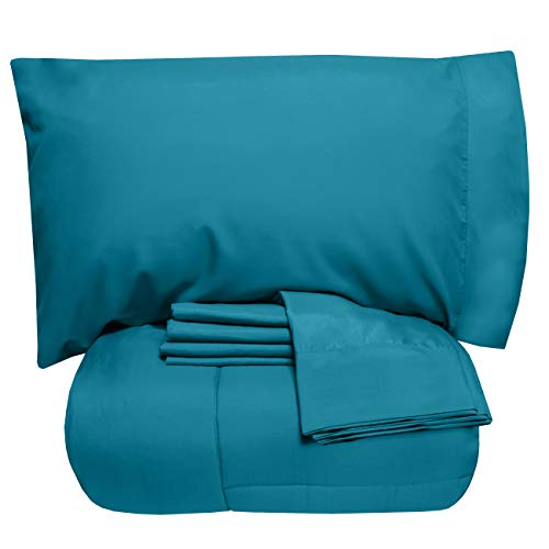 Sweet Home Collection 7 Piece Comforter Set Bag Solid Color All Season Soft Down Alternative Blanket & Luxurious Microfiber Bed Sheets, Queen, Teal
