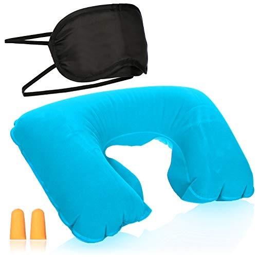 COM-FOUR® 3-delige reisset - opblaasbaar nekkussen, oogmasker en oordopjes - reisaccessoires voor vliegtuig, auto, bus en trein (turkoois)