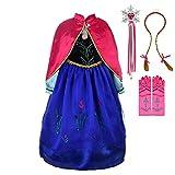 Lito Angels Niñas Disfraz de Princesa Anna Vestido de Fiesta de Disfraces de Halloween con Capa y Accesorios Talla 4-5 años