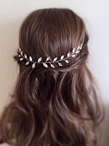 Mayelia Kristall-Braut-Stirnband, Brautschmuck, Hochzeits-Haarschmuck, silbernes Haarteil für Frauen und Mädchen