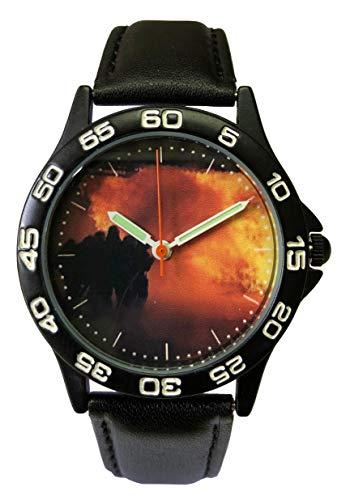IMC Feuerwehr Armbanduhr schwarz Damen Kinder Uhr Lederarmband Sonderedition Motiv Flamme Brand