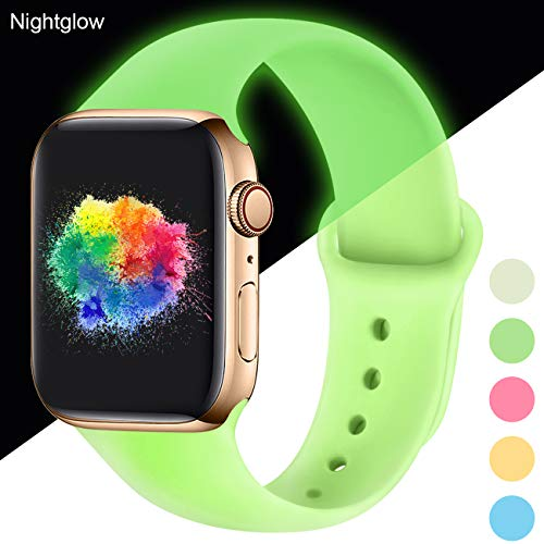Youmaofa Correa Compatible con Apple Watch 42mm 44mm, Correa de Silicona Repuesto Pulsera Deportivas para iWatch Series 5 Series 4 Series 3 Series 2 Series 1, 42mm/44mm S/M Nightglow Mint
