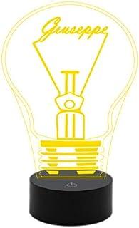 Idea regalo LAMPADINA con nome Lampada led 7 colori da comodino o scrivania Luce da notte