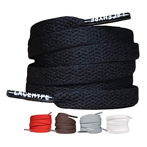 2 Paar - Schnürsenkel Flach Reißfest [8 mm breit ] für Sneakers, Sportschuhe, Laufschuhe, Schuhe Schuhbänder Bänder Ersatz Shoelaces aus Polyeste (90, Schwarz)