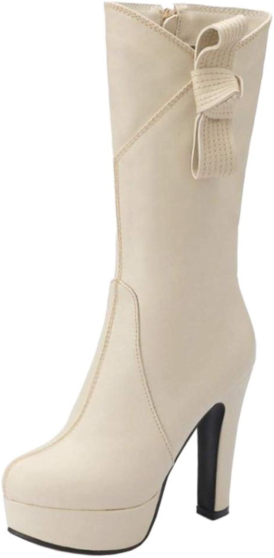 TAOFFEN Women Fashion Platform Boots Mid Calf