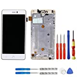 Swark Display LCD para Bq Aquaris u Plus Blanco Pantalla tactil Digitizer Assembly Glas + Marco + Herramientas