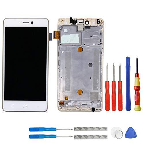 Swark Display LCD para Bq Aquaris u Plus Blanco Pantalla tactil Digitizer Assembly Glas + Marco + Herramientas