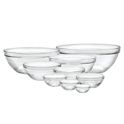 Duralex 100009 Made In France Lys Stackable 9-Piece Bowl Set,Clear