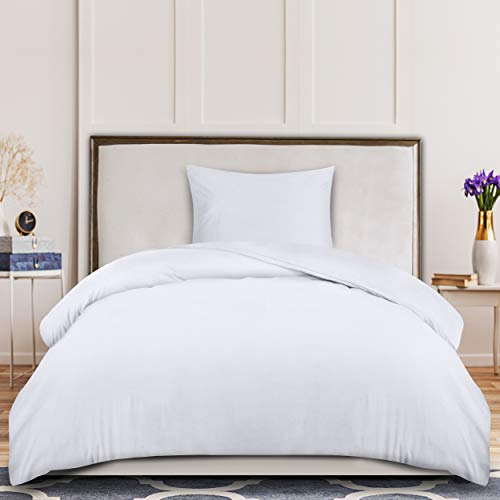 Utopia Bedding Housse de Couette 135x200 cm avec 1 Taie d'oreiller 50x75 cm - Blanc Parure de Lit 1 Personne avec Fermeture Éclair - Sets de Housse Couette en Microfibre