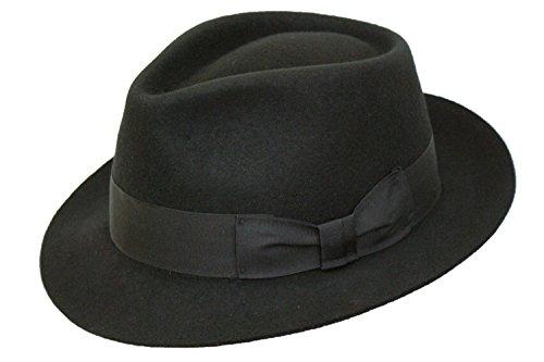 Pour homme Fait main 100% laine Noir Manhattan feutre Fedora Chapeau Trilby à large bande