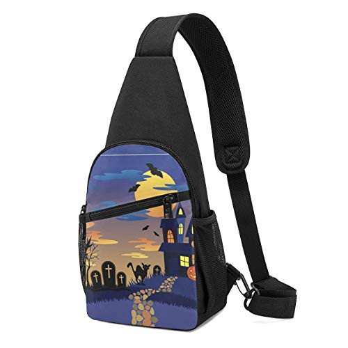 DEKIFNHG Halloween Night Sling Backpack Hiking Daypack Crossbody Shoulder Bag