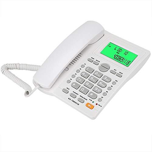 Teléfono con Cable, teléfonos fijos fijos con Altavoz e identificador de Llamadas, teléfono de línea Fija para el hogar/Hotel/Oficina(Blanco)