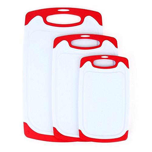 oobest - Tagliere in plastica, 3 pezzi, con piedini antiscivolo e scanalatura profonda per succhi di frutta, lavabile in lavastoviglie, decorato la tua cucina (rosso)