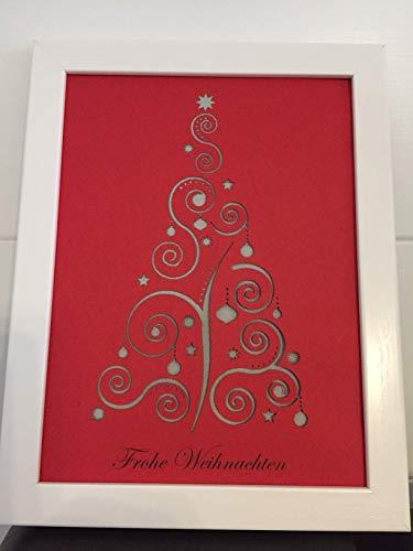 Geldgeschenk Weihnachtsbaum im Bilderrahmen, Weihnachtsgeschenk