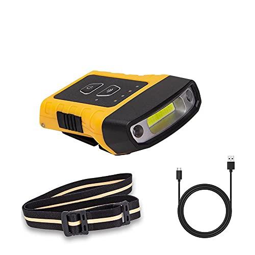 FENGNANMY Linterna Frontal LED Cap Clip Light Wave Sensor Sombrero Faro Faro Faro IPX5 Impermeable Tapa Luz Lámpara Lámpara Noche Running Cabeza Linterna (Emitting Color : Yellow)