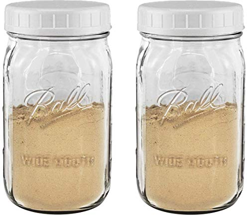 EASY-BUSY Kitchen Combo of Ball 32 oz.-Quart Clear Glass Mason Canning Jar, With EB White Food Storage Plastic Lids Set of 2, Wide Mouth Caps fit WM Ball & Kerr jars & Containers, Reusable, BPA Free,