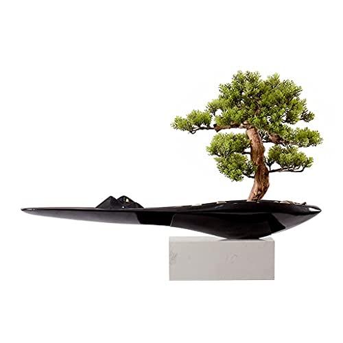 FGVBC NEP Planten Kunstmatige Bonsai Boom Creatieve Bloempot Kiezels Siliconen Simulatie Groene Bladeren NEP Plant Ingemaakte Ornamenten Woonkamer Studeerkamer Kantoor Kunstmatige Bonsai