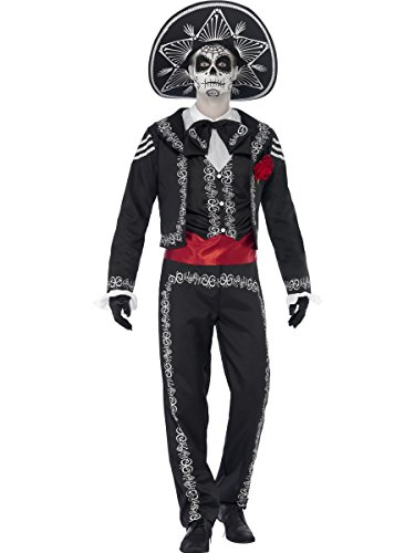 Smiffys Costume squelette Señor jour des morts, avec veste, pantalon et fausse chemiseet, Noir, M