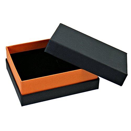 Schmuck Etuis Box aus Karton für Ringe Ohrringe Anhänger schwarz orange 10x8x4cm