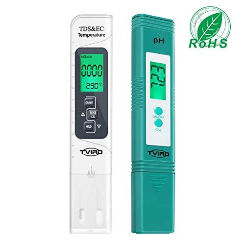 pH Messgerät, Tvird pH Wert TDS EC Messgerät und Temperatur 4 in 1 Set,pH Tester Pool Wasserqualitätstest Leitwertmessgerät mit LCD Display, Hohe Genauigkeit und automatischer Kalibrierungsfunktion