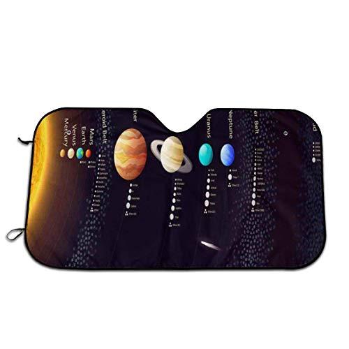 Llynice Detailliertes Solarsystem mit wissenschaftlichen Informationen Jupiter Saturn Universe Teleskop Druck Frontscheibe Sonnenblende Windschutzscheibe Abdeckung für Auto