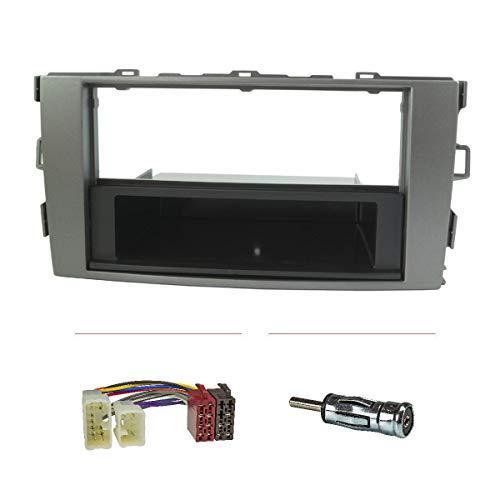 tomzz Audio 2455-009 Radioblende Set kompatibel mit Toyota Auris E150 Silber mit Radioadapter ISO Antennenadapter ISO DIN