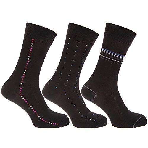Universaltextilien Herren Socken mit Bambus-Anteil, Punkte- / Streifenmuster, 3er-Pack (39-45 EUR) (Schwarz)