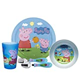 Zak Designs Dinnerware Includes Plate, Bowl, Tumbler and Utensil Tableware Made of Durable Material and Perfect for Kids (George, 5 Piece Set, BPA-Free), Peppa Pig 5pc