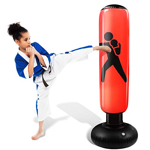 Novelty Place Inflatable Punching Bag for Kids - Free Standing Boxing Bag immediate Bounce Back for Practicing Karate, Taekwondo, Boxing, MMA- Bop Bag Toys for Fitness & Stress Relief
