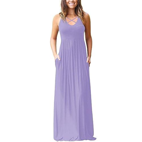 57a208be09c0 EZBELLE Women s Sleeveless Racerback and Long Sleeve Maxi Dresses with  Pockets Plain Loose Long Dresses