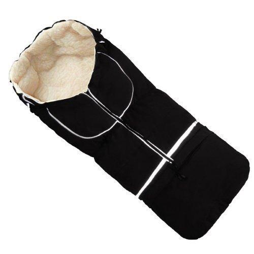 Baby-Joy Fußsack NILS XL 110cm | 5in1 | Winterfußsack Lammwolle/Polyester Schlitten Kinderwagen Buggy | SUPERWASH & SUPERTHERM: 15 schwarz