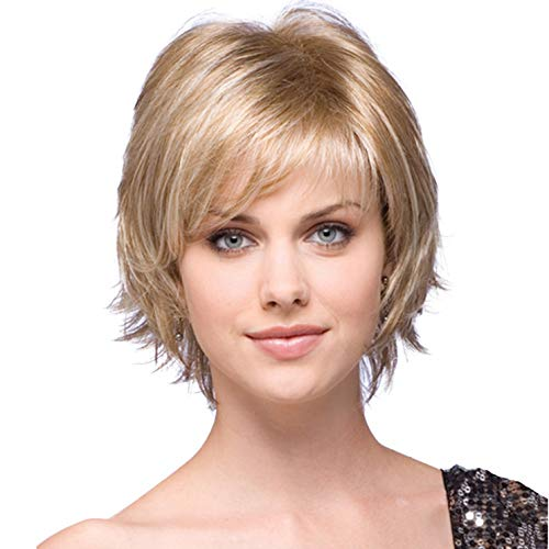 ELIM Blonde Wigs for Women Short Bob Curly Wavy Pixie Cut Full Hair Wig with Bangs, Natural Cute Synthetic Heat Resistant Wigs for Daily Use Party Date with Comfortable Wig Cap Z215