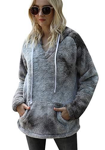 EFOFEI Jersey de felpa para mujer Tie-Dye con bolsillo frontal con cremallera, cuello alto, con cordón y capucha, suave lana de cordero, sensación de manga larga, estilo casual L-gris. XXL