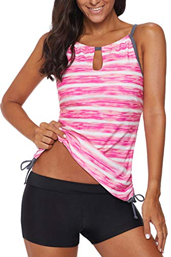 REKITA Womens Stripe Printed Tankini Top with Boyshort Swimsuits Bathing Suits Pink
