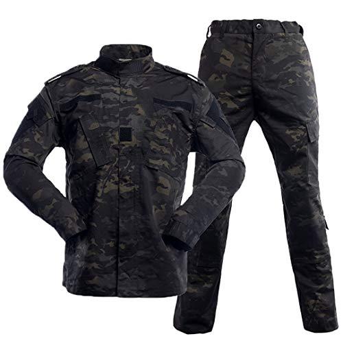 (ガン フリーク) GUN FREAK マルチカムブラック 迷彩服 上下セット BDU ジャケット パンツ ミリタリー サバゲー 戦闘服 (M)