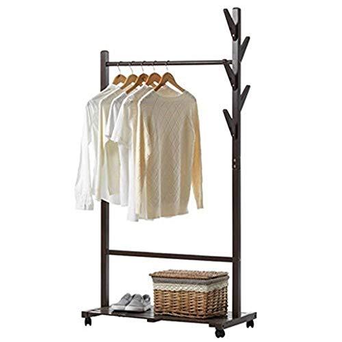 SMC Regal Bambusregal Mantel Haushalt Schlafzimmer Baum Fachwerk Mobile Einfache Landung Wirtschaftsraum Massivholz Kleiderbügel (Color : Brown)