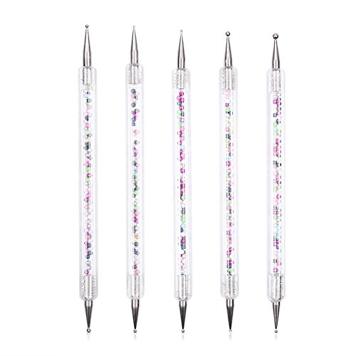 5pcs Double-End Dotting Pen UV Gel Peinture Dessin Dotting Pen Acrylique Crayon Nail Art Outils