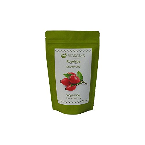 100% Pure and Natural Biokoma Rosehips Whole Dried Fruits 100g (3.55oz) in Resealable Moisture Proof Pouch