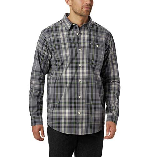 Columbia Men's Boulder Ridge Long Sleeve Shirt, City Grey Large Grid, 2X