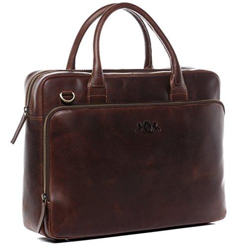 SID & VAIN Laptoptasche echt Leder Ryan XL groß Businesstasche 15,4 Zoll Laptop Umhängetasche Aktentasche Laptopfach 15