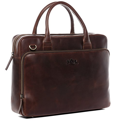 SID & VAIN Laptop Bag Ryan XL Business Briefcase Real Leather 15 inch Laptop Portable Computer Satchel Leather Bag Women Men Brown