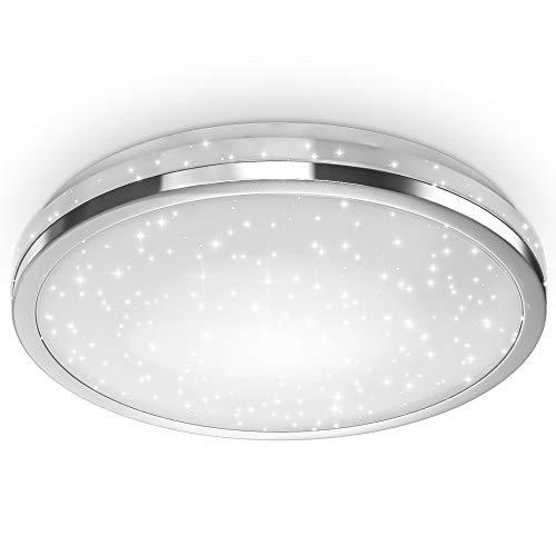 B.K.Licht Lampada da soffitto LED, decoro a cielo stellato, plafoniera luce bianca 4.000K, 2200Lm, Ø38cm, LED integrati 24W, lampadario a risparmio energetico per soggiorno, plastica, IP20