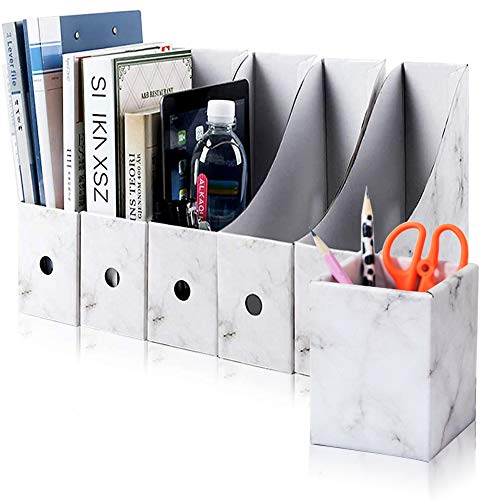 Caja de Almacenamiento de la Oficina Revistero Archivador File Magazine Holder Cardboard Magazine Book Rack Lever Arch Archivador Divider Document Stationery Storage Box 5Pcs / Pack (Mármol)