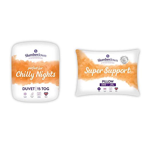 Slumberdown Chilly Nights Double Duvet 15 Tog Winter Duvet Double Bed & Super Support White Pillows 2 Pack Firm Support Designed for Back and Side Sleepers Bed Pillows