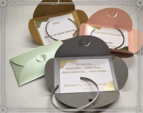 Armreif Silber Gold Trauzeugin Brautjungfer Geschenk fragen Hochzeit Brautschmuck Armband Ondego