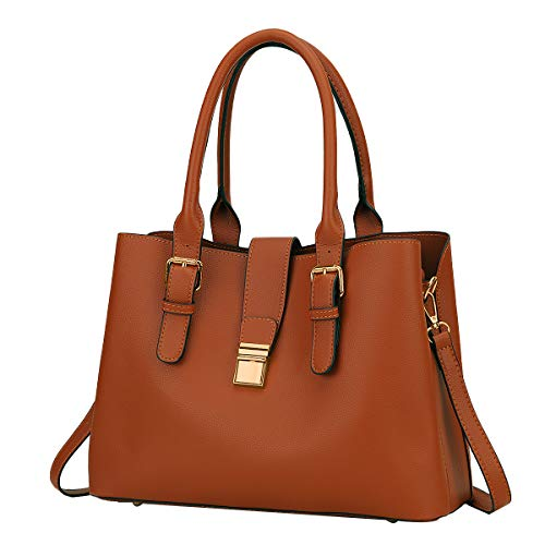 Handbags for Women, VASCHY Soft PU Leather Top Handle Bag Ladies Satchel Work Tote Shoulder Bag with Triple Compartments,Brown