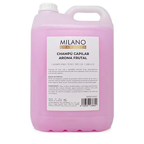 Milano Champú Capilar Aroma Frutal 5000 ml Champú garrafa, agradable perfume frutal sin sulfatos ni parabenos ni siliconas